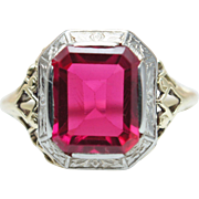 Vintage Ruby Statement Ring in 14k Yellow & White Gold