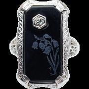 Vintage Art Deco Filigree Onyx & Diamond Statement Ring 10k White Gold
