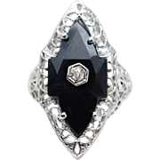 Vintage Art Deco Onyx & Diamond Statement Ring in 14k White Gold