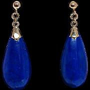 Vintage Pear Shape Lapis Lazuli Earrings - 14k Yellow Gold