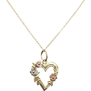 SALE Vintage Yellow Gold with Rose & White Gold Rose Heart Pendant Floral Heart Border Mixed M
