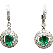 Natural Emerald Diamond Halo Huggie Hoop Earrings 18k White Gold