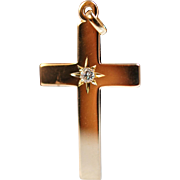 Vintage Diamond Solitaire Cross in 14k Yellow Gold