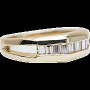 Vintage Diamond & Gold Band Baguette Cut Diamond Ring Vintage Mens Wedding Band Yellow Gold Ri