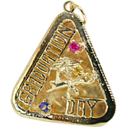 Sapphire and Ruby Graduation Day 14k Yellow Gold Pendant
