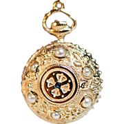 Cultured Pearl & Sapphire Watch Motif Pendant - 14k Yellow Gold