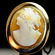 Conch Shell Cameo Brooch Pendant - 14k Yellow Gold