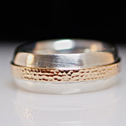 Mens Vintage Sterling Silver & Copper Band Ring - Size 8