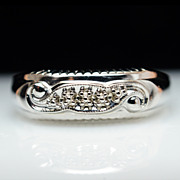 Intricate Mens 14k White Gold Wedding Band - Size 11.25