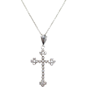 14k White Gold Diamond Cross .79ctw Diamond Cross Pendant Necklace Silver Cross