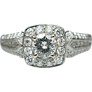 Intricate Vintage Style Diamond Engagement Ring 14k White Gold Ornate Halo Milgrain Edge