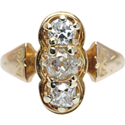 Vintage Art Deco Old Mine Cut Diamond Ring in 14k Yellow Gold