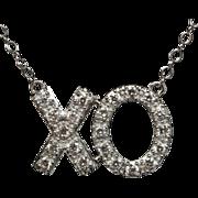 Diamond XO Love Pendant Necklace 14k White Gold
