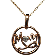 Mom Diamond Pendant Necklace Round Shape with Heart Diamond 10k Rose Gold