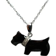 Scottie Dog Diamond & Enamel Pendant Necklace 14k White Gold
