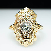 Late Edwardian .20ct Diamond & 14k Yellow Gold Ring - Size 6.5