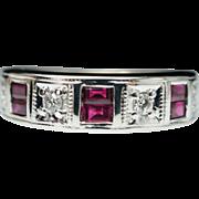 Vintage .63ctw Ruby & Diamond Wide Wedding Band Ring - Size 5.75 - 14k White Gold