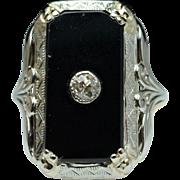 Antique Edwardian Onyx & Diamond Signet Solitaire Ring 18k Yellow & White Gold