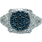 Round Blue Diamond  Center Cocktail Ring Diamond Halo 10k White Gold