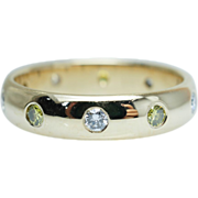 Green & Colorless Diamond Wedding Band Aniversary Ring 14k Yellow Gold
