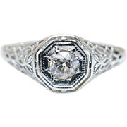 Vintage Old European Cut Diamond Engagement Ring in 18k White Gold Intricate Ring