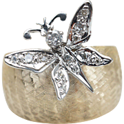 SALE Vintage Diamond Butterfly Cocktail Ring with 14k Yellow & White Gold