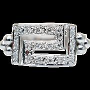Vintage Square Face Diamond Statement Ring Band 18k White Gold
