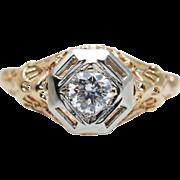Vintage Art Deco Diamond Engagement Ring in 14k Yellow & White Gold