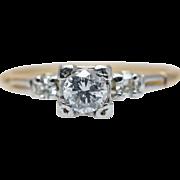 Vintage Art Deco Diamond Engagement Ring 14k Yellow White Gold