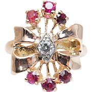 intage Ruby Cocktail Ring Diamond & Gold Bow Ring Diamond Ring Vintage Cocktail Ring Gold Clus
