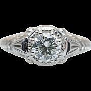 Vintage Late Edwardian Style Diamond Engagement Ring