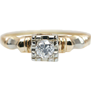 Vintage Art Deco Diamond Engagement Ring in Yellow & White Gold
