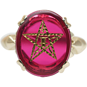 Vintage Ruby Eastern Star Solitaire Ring in 10k Yellow Gold