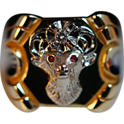 Mens Diamond & Enamel Elks Ring - Size 9 - Elks Lodge
