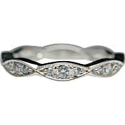 Stackable Diamond Wedding Anniversary Band in 14k White Gold