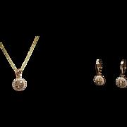 Champagne Brown Diamond Halo Pendant & Earrings Jewelry Set