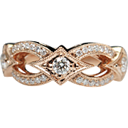 Diamond Star Wedding Anniversary Band in 14k Rose Gold
