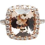 Cushion Cut Morganite Diamond Halo Engagement Ring 14k Rose Gold