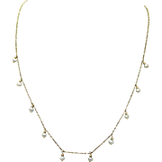 Vintage Dainty Cultured Pearl Necklace 10k Yellow gold