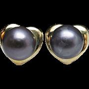 Cultured Gray Black Pearl Stud Earring & Pendant Jewelry Set