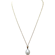 Solitaire Cultured Pearl Pendant Necklace 14k White Gold Simple Pearl