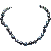 Cultured Freshwater Pearls Tahitian Ringed Pearl Strand Necklace Aubergine Colored Pearls