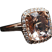 Rectangular Cushion Cut Morganite Diamond Halo Engagement Ring Cocktail Ring 14k Rose Gold