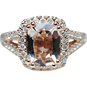 Rectangular Cushion Cut Morganite Diamond Halo Engagement Ring in 14k Rose Gold