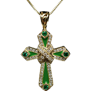 St Patrick Catholic Emerald Diamond & Enamel Cross Pendant 14k Yellow Gold