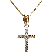 .25ctw Diamond Cross Pendant 14k Yellow Gold