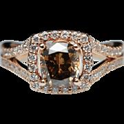 Brown Cushion Diamond Halo Split Shank Engagement Ring 14k Rose Gold