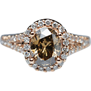 Oval Light Brown Diamond Engagement Ring Halo 14k Rose Gold