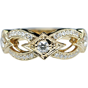 .46ctw Diamond Band Star Band Wedding Band 14k Yellow Gold