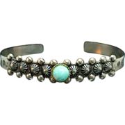 Native American Style Sterling Silver Turquoise Bracelet - 5.25 inches